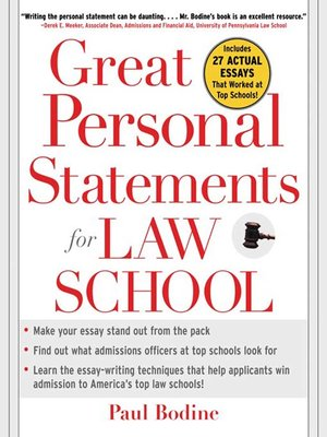 cover image of Great Personal Statements for Law School