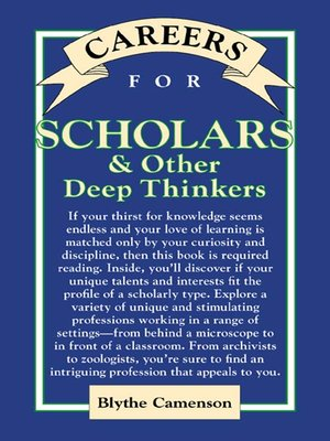 cover image of Careers for Scholars & Other Deep Thinkers