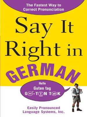 cover image of Say It Right In German