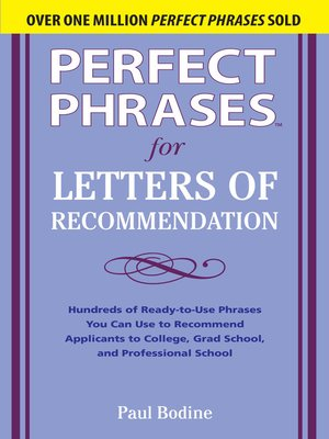 cover image of Perfect Phrases for Letters of Recommendation
