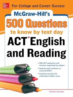 cover image of McGraw-Hill's 500 ACT English and Reading Questions to Know by Test Day