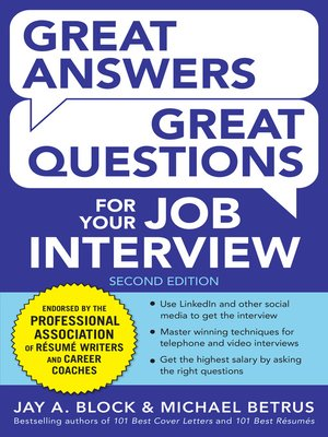 cover image of Great Answers, Great Questions For Your Job Interview