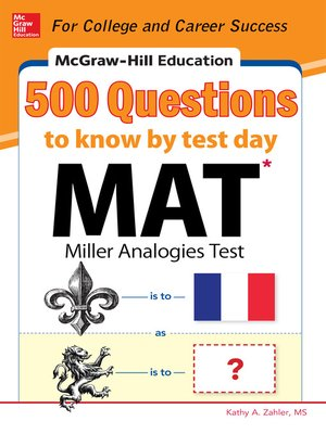 cover image of McGraw-Hill Education 500 MAT Questions to Know by Test Day