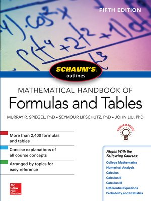 cover image of Schaum's Outline of Mathematical Handbook of Formulas and Tables