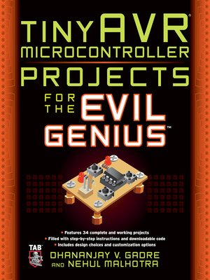 cover image of tinyAVR® Microcontroller Projects for the Evil Genius