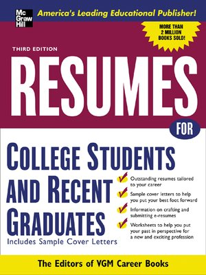 cover image of Resumes for College Students and Recent Graduates