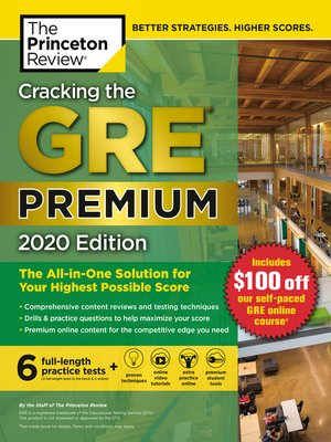 cover image of Cracking the GRE Premium Edition with 6 Practice Tests, 2020
