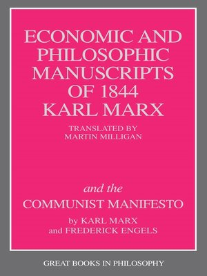cover image of The Economic and Philosophic Manuscripts of 1844 and the Communist Manifesto