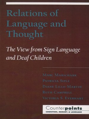 cover image of Relations of Language and Thought
