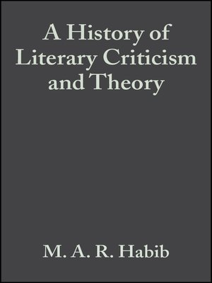 cover image of A History of Literary Criticism and Theory