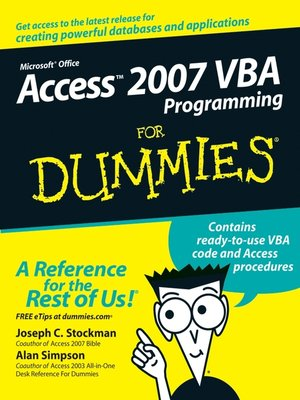 cover image of Access 2007 VBA Programming For Dummies