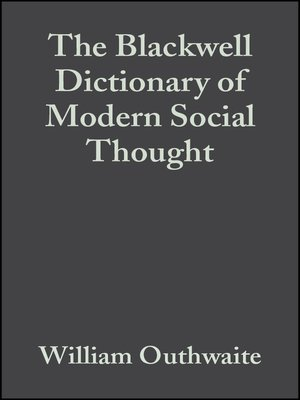cover image of The Blackwell Dictionary of Modern Social Thought