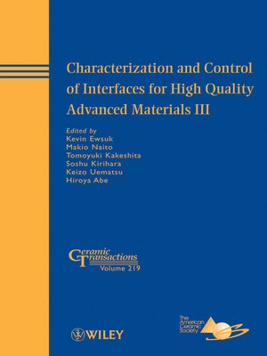 cover image of Characterization and Control of Interfaces for High Quality Advanced Materials III