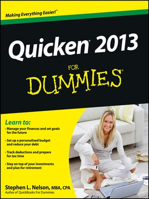 cover image of Quicken 2013 For Dummies