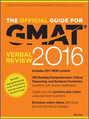 cover image of The Official Guide for GMAT Verbal Review 2016 with Online Question Bank and Exclusive Video