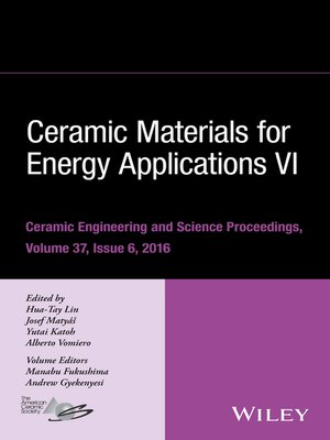 Ceramic Materials For Energy Applications Vi By Hua Tay Lin