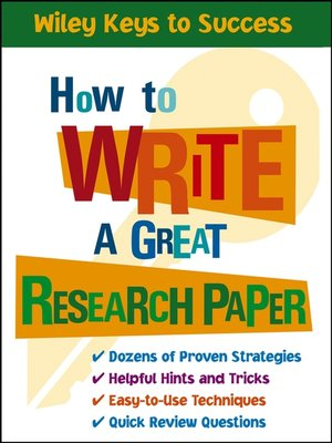 cover image of How to Write a Great Research Paper