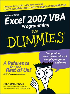 cover image of Excel 2007 VBA Programming For Dummies