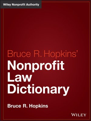cover image of Hopkins' Nonprofit Law Dictionary