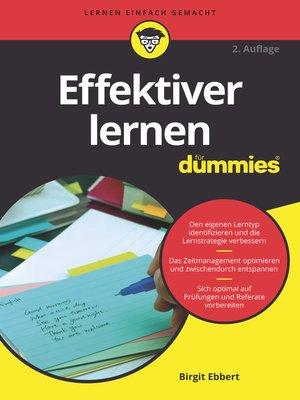 cover image of Effektiver Lernen für Dummies