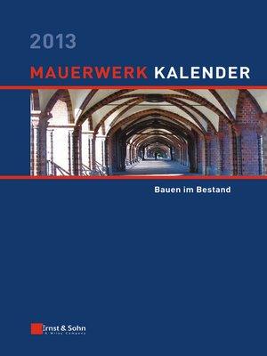 cover image of Mauerwerk-Kalender 2013