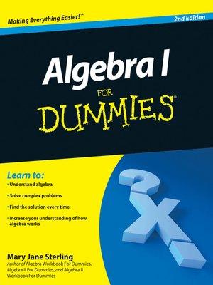 cover image of Algebra I For Dummies