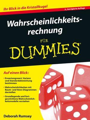 cover image of Wahrscheinlichkeitsrechnung für Dummies
