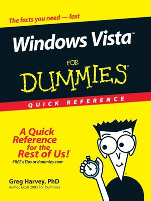 cover image of Windows Vista For Dummies Quick Reference