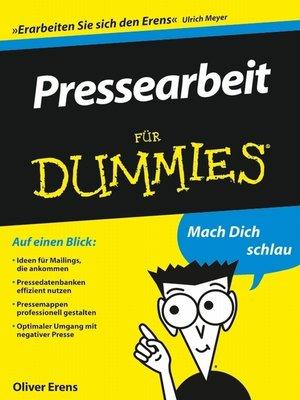 cover image of Pressearbeit für Dummies