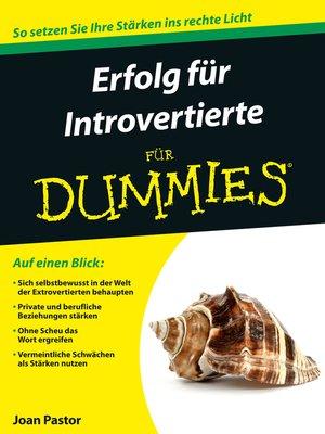 cover image of Erfolg für Introvertierte für Dummies