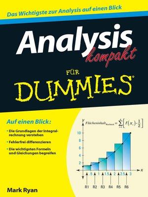 cover image of Analysis kompakt für Dummies
