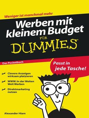 cover image of Werben mit kleinem Budget für Dummies