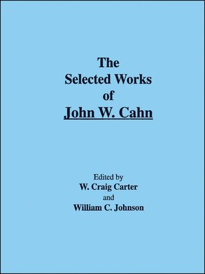 cover image of The Selected Works of John W. Cahn