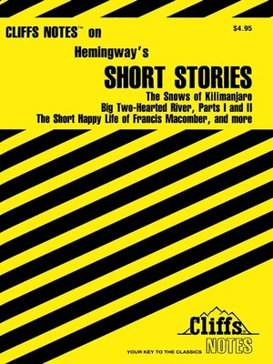 cover image of CliffsNotes Hemingway's Short Stories