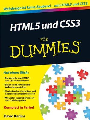 cover image of HTML5 und CSS3 für Dummies