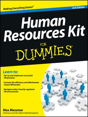 cover image of Human Resources Kit For Dummies