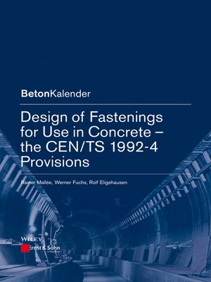 cover image of Design of Fastenings for Use in Concrete