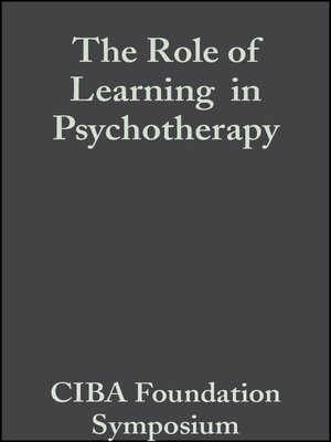 cover image of The Role of Learning  in Psychotherapy