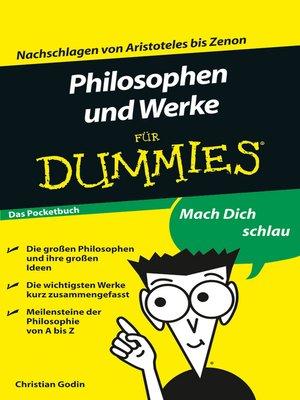 cover image of Philosophen und Werke für Dummies