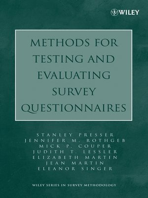 cover image of Methods for Testing and Evaluating Survey Questionnaires