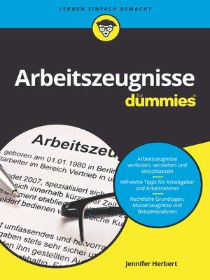 cover image of Arbeitszeugnisse für Dummies