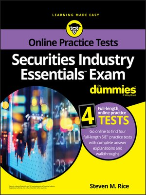 cover image of Securities Industry Essentials Exam For Dummies with Online Practice