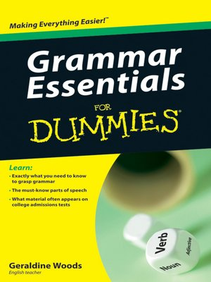 cover image of Grammar Essentials For Dummies