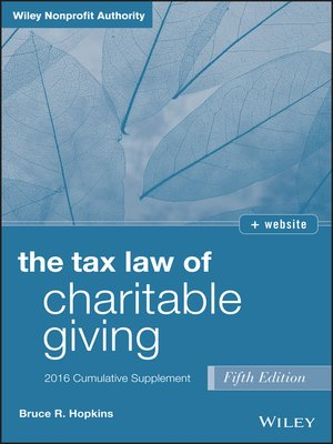 cover image of The Tax Law of Charitable Giving, 2016 Cumulative Supplement
