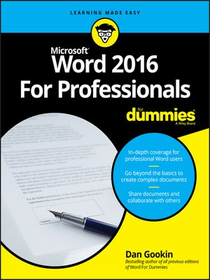 cover image of Word 2016 For Professionals For Dummies