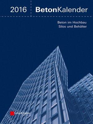 cover image of Beton-Kalender 2016 Schwerpunkte