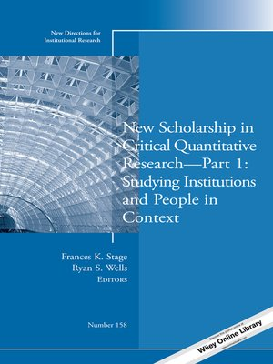 cover image of New Scholarship in Critical Quantitative Research, Part 1