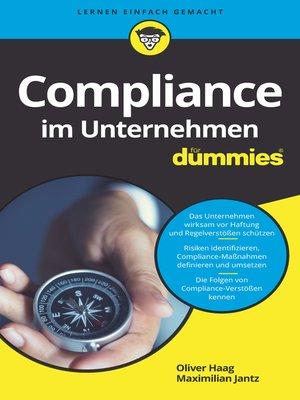 cover image of Compliance im Unternehmen für Dummies