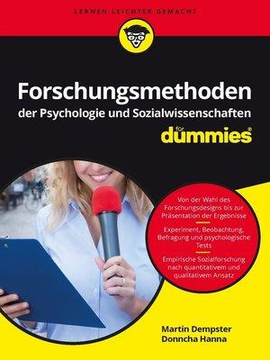 cover image of Forschungsmethoden der Psychologie und Sozialwissenschaften für Dummies