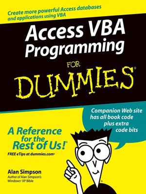 cover image of Access VBA Programming For Dummies